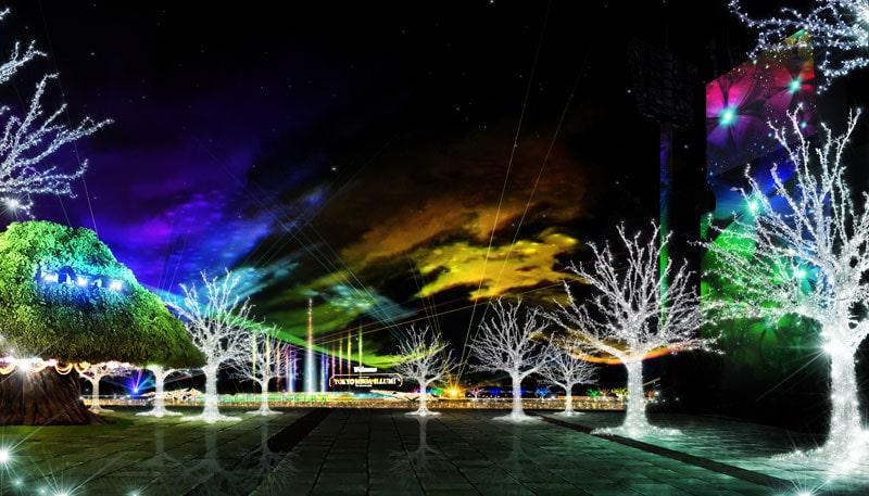 水景オーロラ光の森