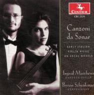 Early Italian Violin Music Onvocal Melodeis: I.matthews(Vn)schenkman(C