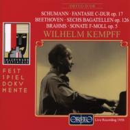 シューマン:幻想曲op.17、ブラームス:ピアノ・ソナタ第3番、ほか ケンプ(pf)