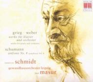 グリーグ:ピアノ協奏曲、シューマン:交響曲第4番、他 マズア&ドレスデン・フィル、ゲヴァントハウス管、シュミット(ピアノ)