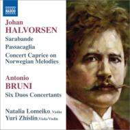 ハルヴォルセン:パッサカリア、サラバンドと変奏、カプリース、ブルーニ:協奏的二重奏曲集第4巻 ロメイコ、ジスリン