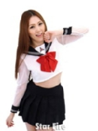 ローチケHMVAdult Toy/シースルースリーブセーラー / 長袖【紺x白x赤 女子校生 セクシーコスプレ】