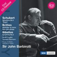 Sibelius Symphony No.2, Britten Serenade, Schubert Symphony No.4 : Barbirolli / Cologne RSO, Baumann, English (1969 Stereo)(2CD)