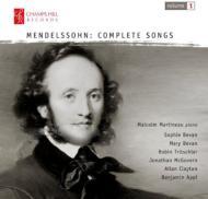 メンデルスゾーン(1809-1847)/Complete Lieder Vol.1: S & M.bevan(S) Tritschler(T) Mcgovern Appl(Br) Martineau(