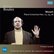ピアノ協奏曲第21番、第25番、第26番 イヴォンヌ・ロリオ、ピエール・ブーレーズ&ラムルー管弦楽団(1964)(2CD)