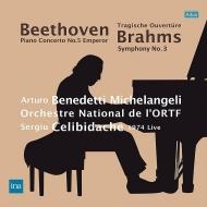 ベートーヴェン:皇帝、ブラームス:交響曲第3番、他 アルトゥーロ・ベネデッティ・ミケランジェリ、セルジウ・チェリビダッケ&フランス国立放送管(1974ステレオ)(2LP)