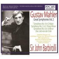 交響曲第4番、第5番、第6番、大地の歌 ジョン・バルビローリ&BBC響、ヒューストン響、ベルリン・フィル、フェリアー、ハーパー、ルイス、他(1952-67)(4CD)