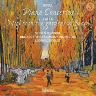 ラヴェル:ピアノ協奏曲、左手のためのピアノ協奏曲、ファリャ:スペインの庭の夜 スティーヴン・オズボーン、リュドヴィク・モルロー&BBCスコティッシュ交響楽団