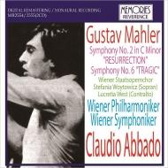 交響曲第2番『復活』(ウィーン・フィル、1965)、第6番『悲劇的』(ウィーン響、1967) クラウディオ・アバド(2CD)
