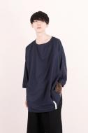 ノーカラードルマンシャツ / ネイビー[L]