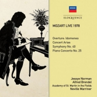 1978年モーツァルト・ライヴ〜交響曲第40番、ピアノ協奏曲第25番、演奏会用アリア ネヴィル・マリナー、アルフレート・ブレンデル、ジェシー・ノーマン(2CD)