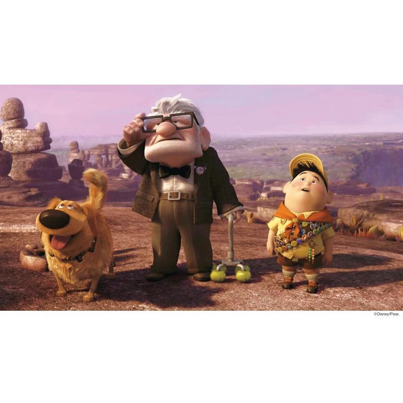 空を見上げるカールとラッセル、そしてダグ