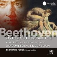 ベートーヴェン:交響曲第1番、第2番、C.P.E.バッハ:交響曲集 ベルリン古楽アカデミー、ベルンハルト・フォルク(コンサートマスター)(日本語解説付)