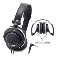 オーディオテクニカ : ポータブルヘッドホン ATH-SJ55 BK (ブラック)