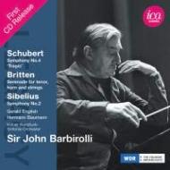 シベリウス:交響曲第2番、ブリテン:セレナード、シューベルト:『悲劇的』 バルビローリ&ケルン放送響、ヘルマン・バウマン、他(1969 ステレオ)(2CD)