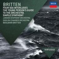 青少年のための管弦楽入門、シンプル・シンフォニー、4つの海の間奏曲、他 ベンジャミン・ブリテン&ロンドン響、イギリス室内管、他