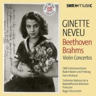 ベートーヴェン:ヴァイオリン協奏曲、ブラームス:ヴァイオリン協奏曲 ジネット・ヌヴー、ロスバウト指揮、デゾルミエール指揮