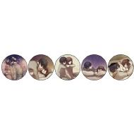 トレーディング缶バッジ 全5種の内ランダム1種(猫とろ) / 「聴く」妄想イラストレーター展