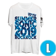 サマソニ×ROCK×ROCK Tシャツ ブルー×ホワイト (L)