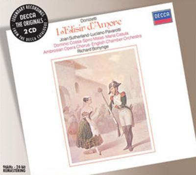 歌劇『愛の妙薬』全曲 ボニング&イギリス室内管、パヴァロッティ、サザーランド、他(2CD)
