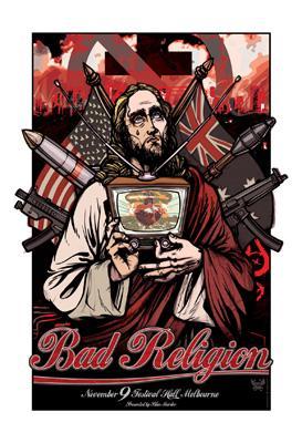 bad religion limited edition australian tour poster bad religion hmv books online online. Black Bedroom Furniture Sets. Home Design Ideas