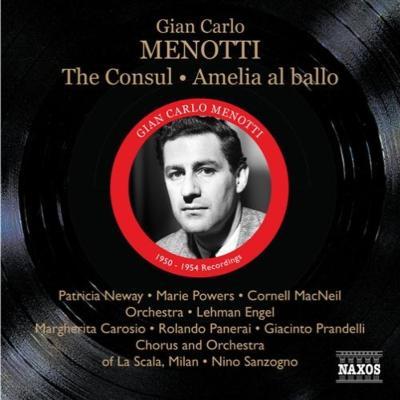 『領事』全曲(エンジェル指揮、1950年モノラル)、『アメリア舞踏会へ行く』全曲(サンツォーニョ&スカラ座、1954年モノラル)(2CD)