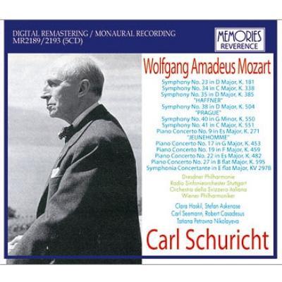 シューリヒト/モーツァルト名演集 シュトゥットガルト放送響、ウィーン・フィル、ハスキル、カサドシュ、ニコラーエワ、他(1943−61)(5CD)