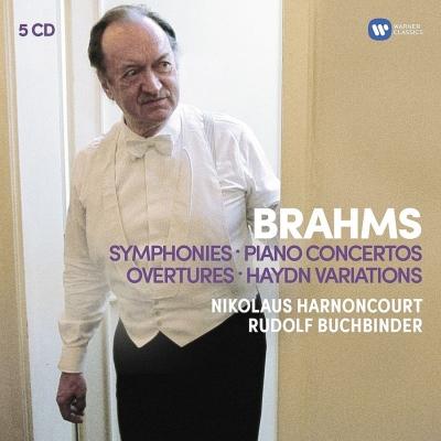 交響曲全集、ピアノ協奏曲第1番、第2番、悲劇的序曲、大学祝典序曲、ハイドン変奏曲 アーノンクール&ベルリン・フィル、コンセルトヘボウ、ブッフビンダー(5CD)