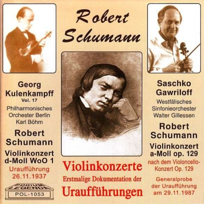 ヴァイオリン協奏曲 ゲオルク・クーレンカンプ、カール・ベーム&ベルリン・フィル(1937年初演ライヴ)、チェロ協奏曲(ヴァイオリン版 初演時ゲネプロ音源)、他