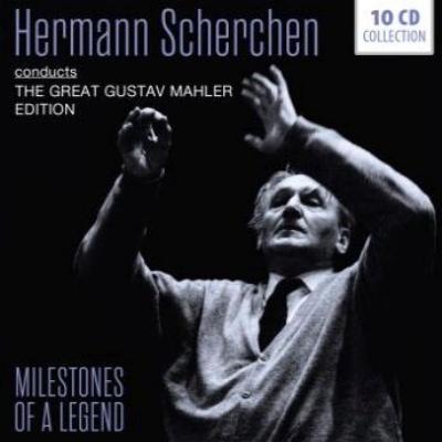 Symphonies Nos.1, 2, 3, 6, 7, 8, 9, 10(Adagio), Kindertotenlieder : Hermann Scherchen / RPO, Vienna State Opera O, Lipzig RSO, etc (10CD)
