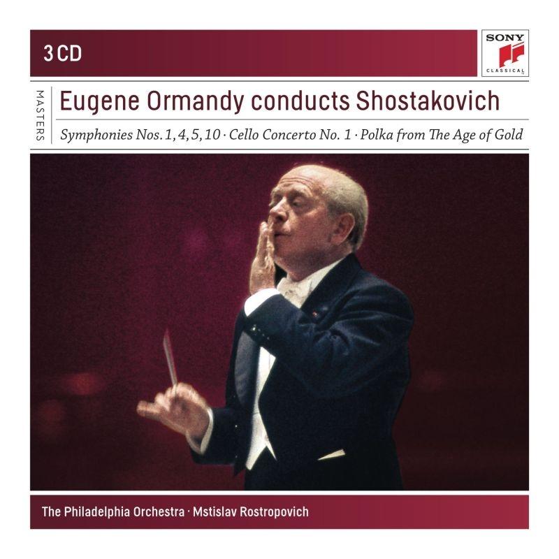 交響曲第1番、第4番、第5番、第10番、チェロ協奏曲第1番 ユージン・オーマンディ&フィラデルフィア管弦楽団、ムスティスラフ・ロストロポーヴィチ(3CD)