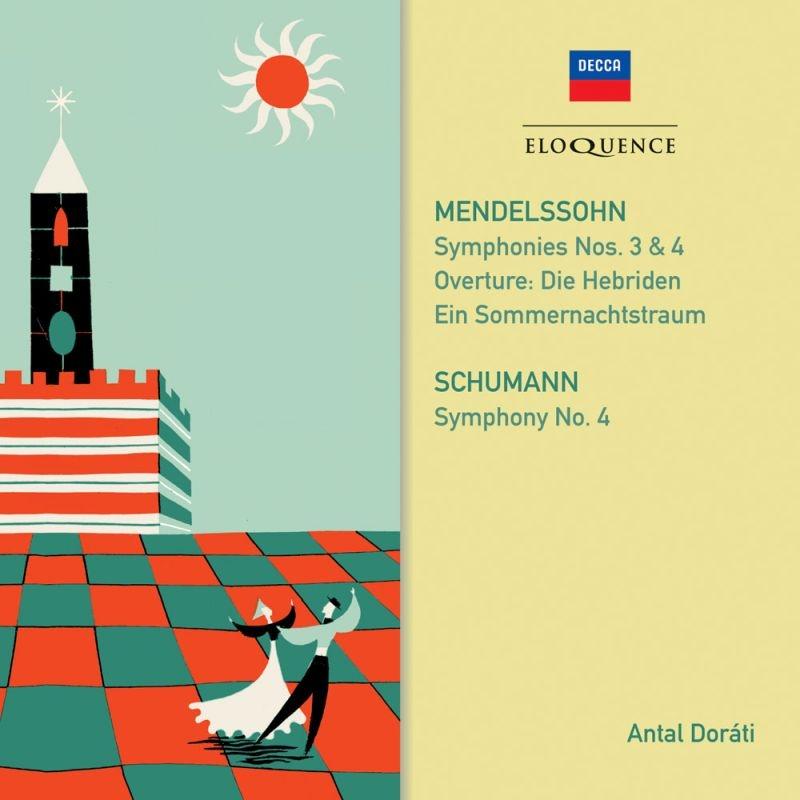 メンデルスゾーン:交響曲第3番、第4番、ヴァイオリン協奏曲、シューマン:交響曲第4番、他 アンタル・ドラティ&ロンドン交響楽団、ヘンリク・シェリング(2CD)