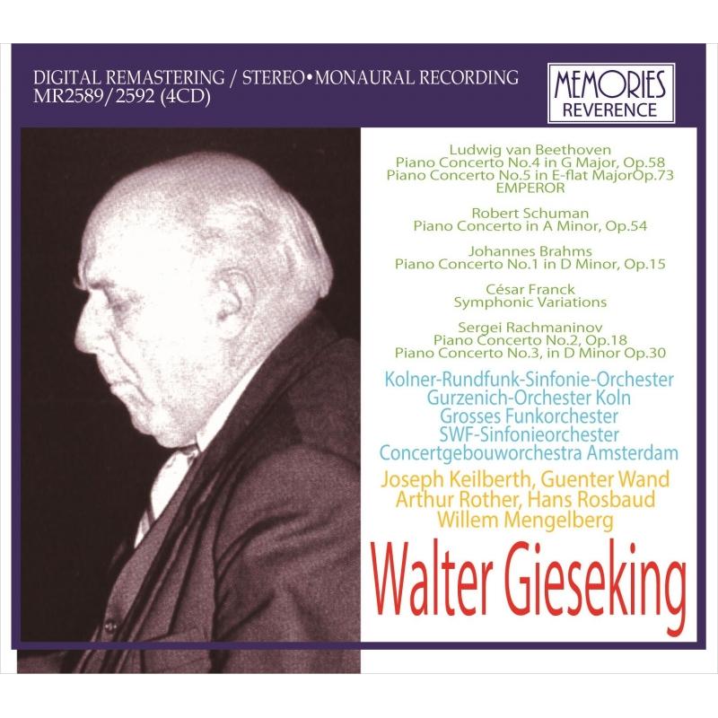 ヴァルター・ギーゼキング、ピアノ協奏曲ライヴ集〜ラフマニノフ第3番(メンゲルベルク指揮)、シューマン(ヴァント指揮)、皇帝(ローター指揮)、他(4CD)