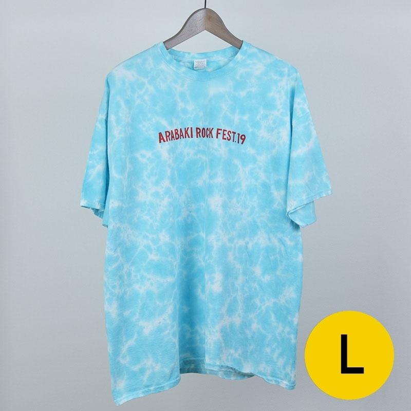 ムラ染めTシャツ ブルー Lサイズ