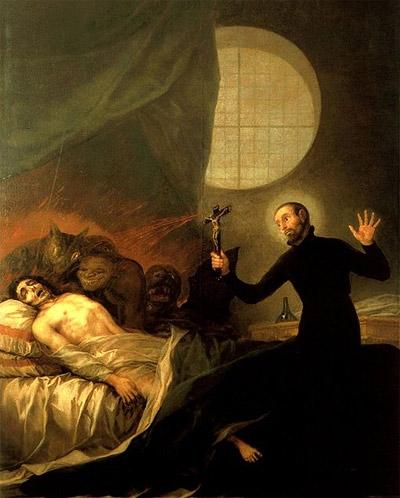 ゴヤ:悔悛しない瀕死の病人に付き添う聖フランシスコ・ボルハ